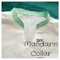 Mandarin collar has many names - most of them Asian - like Korean Collar Chinese Collar Nehru Collar Mao Collar. It is basically a band collar which is Diy Clothes Tutorial, Diy Clothes Refashion, Diy Tutorial, Diy Clothes Organiser, Diy Clothes Hangers, Col Mandarin, Mandarin Collar, Bodice Pattern, Collar Pattern