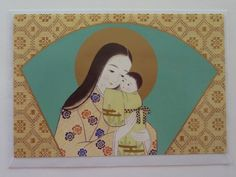 Vintage Japanese Madonna Christmas Greeting Card - Carmel Yamaguchi, Japan - Mother and Child