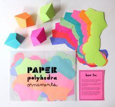 DIY geometrische Papier Ornamente Set von 8 von FieldGuideDesign