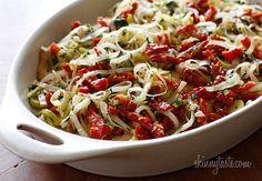 Chicken with Leeks, Sun-Dried Tomatoes in White Wine Sauce | Skinnytaste