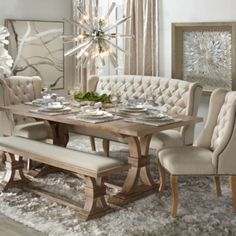 75 Vintage Dining Table Design Ideas DIY – Best Home Decorating Ideas Shabby Chic Dining Room, Dining Room Table Decor, Dining Table Design, Dining Room Furniture, Room Decor, Settee Dining, Bench Dining Room Table, Elegant Dinning Room, Dinning Table With Bench