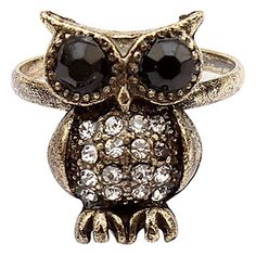 Owl Ring - do something to make it look softer and loveable for WWW Owl Jewelry, Jewelery, Other Accessories, Jewelry Accessories, Owl Ring, Owl Pictures, Owl Always Love You, Cute Owl, Ring Necklace