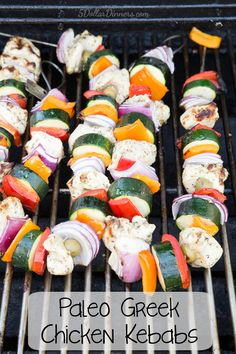 Greek Chicken Kebabs Recipe ~ I love these flexible kebab skewers for the grill! And, these grilled chicken kebabs are budget friendly paleo! | 5DollarDinners.com