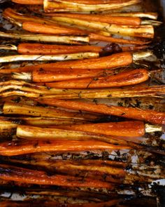 Vegetables can be caramelized on the stove or in the oven. Carrots and parsnips are oven-roasted until tender with bacon, thyme, and maple syrup, marrying sweet elements with savory ones.