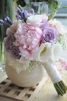 Fresh Lavender, Lavender Roses, Pink Peonies, White Lisianthus, White Gypsophila Wedding Bouquet
