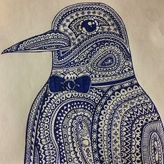 """The Emperor #penguin #doodle #drawing #pen #ink #art #sketch #detail #mandala #paisley #design #pattern #bowtie #fancy #sharpie #china #tattooart"""
