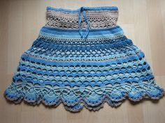 Crochet skirt in shades of blue / beige  it will be by Sidonie0604
