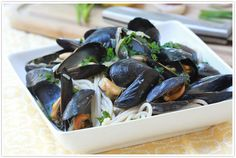 Recipe for pasta with garlic mussels and white wine butter sauce, by Forgiving Martha for Camille Styles