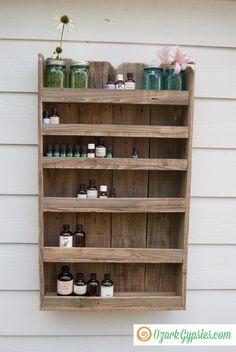 Reclaimed Wood Essential Oils Shelf by Ozark Gypsies