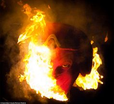 The devil on fire: David mach set his sculpture alight