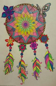 Dreamcatcher from Hipster by Thaneeya McArdle colored with gel pens