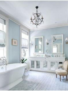 33 Elegant White Master Bathroom Ideas 2019 Photos 33 Elegant White Master Bathroom Ideas 2019 Photos J F Menn J F Menn A white bathroom with pale blue walls a mirrored vanity and hellip Blue Bathrooms Designs, Grey Bathrooms, Beautiful Bathrooms, Master Bathrooms, Luxury Bathrooms, Contemporary Bathrooms, Modern Bathroom, Parisian Bathroom, Marble Bathrooms