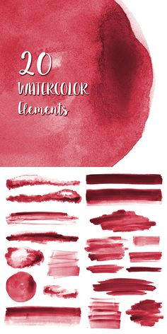 20 Red Watercolor Elements #watercolor #clipart #red #designelements #graphics #backgrounds #texture #textures #handpainted #brushstrokes #splotches #watercolorclipart #design #graphicdesign #etsy #etsyshop #watercolour Watercolor Splash Png, Watercolor Texture, Watercolor Design, Watercolor Cards, Watercolor Background, Hipster Drawings, Glitter Art, Floral Logo, Brush Strokes
