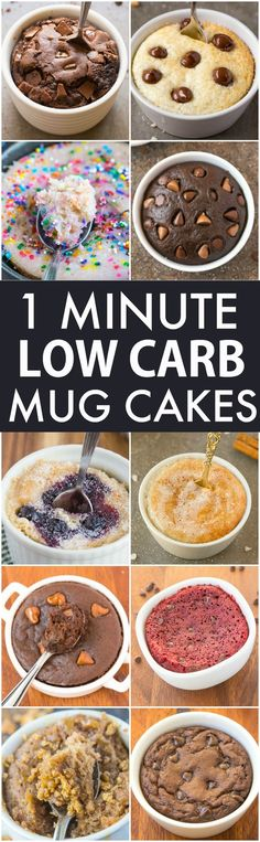 Low Carb Healthy 1 Minute Mug Cakes Brownies and Muffins (V GF Paleo)- Delicious single-serve desserts and snacks which take less than a minute! Low carb sugar free and more with OVEN options too! Low Carb Sweets, Low Carb Desserts, Healthy Sweets, Low Carb Recipes, Snack Recipes, Paleo Recipes, Dessert Recipes, Free Recipes, Dessert Ideas