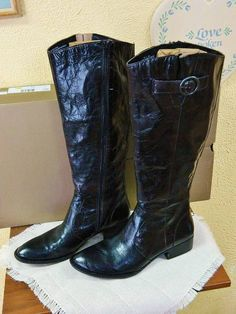 eb75d80a7f4ed Details about Born Brea Boho Tall Leather Boots 9.5/41 Fun Party Cute Comfy  Wear w/Jeans New
