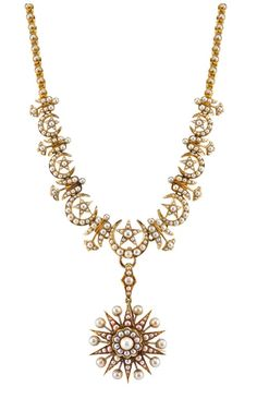Anabel Higgins' Georgina Necklace; Victorian-inspired design with pearls in 14k gold with detachable brooch.