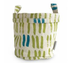 Vertical Strokes Lime/Teal Echo Recycled Canvas Bucket - Large