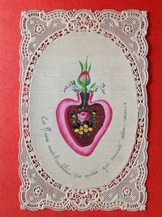HANDPAINTED ON SILK ANTIQUE HOLY CARD - FLOWERS IN HEART