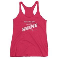 """This Little Light of Mine - SHINE"" Teen Women's Racerback Tank Top - White Print/Multi"