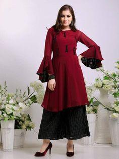 Buy Inaya Luxury Pret Designer Tunic With Culottes Pants Singles Collection Wholesaler Surat. Simple Pakistani Dresses, Pakistani Dress Design, Tunic Designs, Kurta Designs, Stylish Dresses, Simple Dresses, Beautiful Dresses, Long Jacket Dresses, Long Dresses