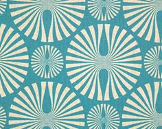 Love this color and print for a shower curtain - reminds me of mid mod sand dollars!