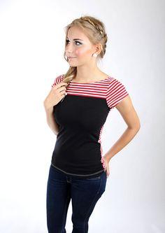 """Tops - MEKO """"Peipy"""" Shirt Rot Schwarz Damen Streifen - ein Designerstück von meko bei DaWanda"""