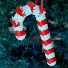 LEGO Candy Cane Christmas Ornament. I can see Matthew making these
