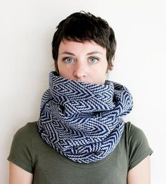 Knitting Inspiration: Navy & Grey Scallop Infinity Scarf by Sourpuss Knits on Scoutmob Shoppe