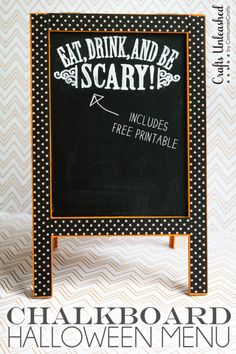 "A cute Halloween Menu Stand is just what your party needs! Includes free ""Eat, Drink, and Be Scary!"" printable to copy."