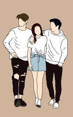 Easy Love Drawings, Cute Couple Drawings, Cute Couple Cartoon, Cute Couple Art, Cute Wallpaper Backgrounds, Cute Patterns Wallpaper, Wattpad Book Covers, Cute Couple Wallpaper, Chica Anime Manga