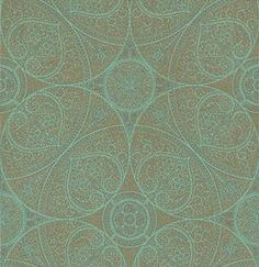 Yasmin Gold Turquoise (341752) - Eijffinger Wallpapers - A decorative all over design with fine intricate patterns - like henna tattoos - with a bold circular pattern too.  Shown in the metallic gold on turquoise blue. Please request a sample for true colour effect. Paste the wall.