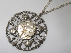 Steampunk Jewelry Watch Necklace  Antiqued Silver setting vintage watch movement gift for women friend Birthday Gift for Her Cosplay