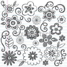 Çiçekler Yarım Yamalak Doodles Çizilmiş Okul Defter Vektör Çizim Tasarım Öğeleri…