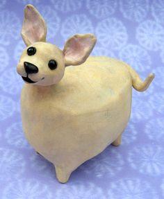Fat Chihuahua Ceramic Chihuahua sculpture by KarenFincannon