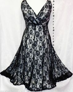 18W Womens Sexy Black & White Lace Surplice Plus Size Dress Empire Waist Glamour #EmpireWaist
