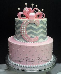 Pink and Gray Chevron Baby Shower Cake | Flickr - Photo Sharing!