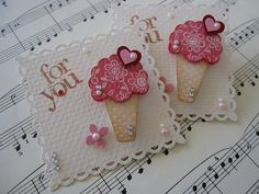 card decorations: Ice Cream Cone Embellishments ... like the creative use of punches ...