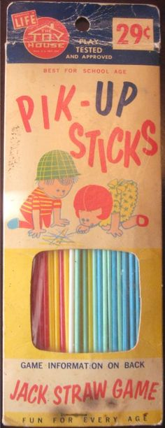 1960s Pik-Up Sticks Vintage Toys Games. Many rainy days spent on my cousin's living room floor playing pick up sticks.