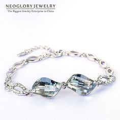 Neoglory Jewelry MADE WITH SWAROVSKI ELEMENTS Crystal Champagne Gold Plated Bracelets & Bangles For Women Girl Friend 2016 New