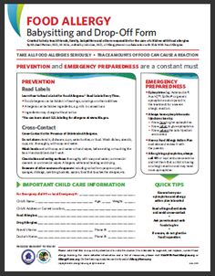 Food Allergy Babysitting and Drop-Off Emergency Form