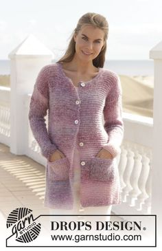 "Knitted DROPS jacket in garter st in ""Delight"" and ""Vivaldi"" or ""Alpaca Silk"". Size: S - XXXL. ~ DROPS Design"