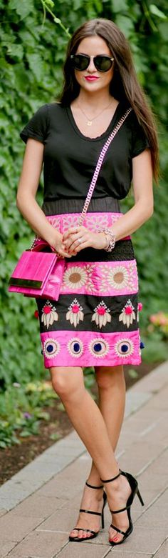 Anthropologie Multi Pattern & Stripe Embroidered Pencil Midi Skirt by Pink Peonies