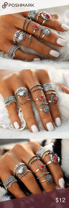Vintage Bohemian Midi Finger Rings Set Vintage Bohemian Midi Finger Rings Set for Women Moon Sun Ethnic Red Natural Stone Knuckle Rings Jewelry Gift 14pcs/set. Please see images for the ring size assortment. Jewelry Rings