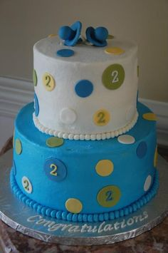 Twins baby shower cake- I like how simple it is