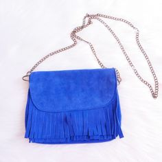 Genuine Suede Leather Fringed Mini Bag 🛍 Genuine Suede Leather Fringed Mini Bag Royal Blue 🛍 Used only once 🛍 Size: 9 x 7 inches 🛍 Excellent Condition 🛍 No trades 🛍 20 % Bundles of 3 or more items 🛍 Pet and Smoke-Free Home 🛍 Same or Next Day Shipping 🛍 Bags Mini Bags