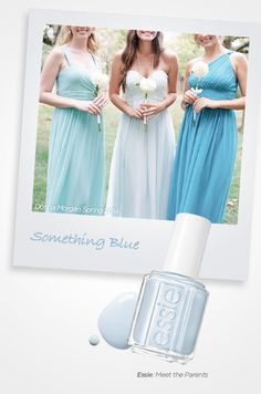 "Meet The Parents from Essie: a soft, dreamy shade of blue ideal for your bridesmaids or fulfilling that ""something blue"". Bridesmaids, Bridesmaid Dresses, Wedding Dresses, Wedding Styles, Wedding Photos, Wedding Day Nails, Strapless Dress Formal, Formal Dresses, Blue Bridal"
