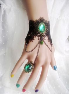 gothic jewelry black crystal charm bracelets with rin g link hand chain handmade unique bracelet fashion women party accessories