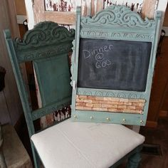 chair back memo board, chalk paint, chalkboard paint, painted furniture, repurposing upcycling Old Furniture, Refurbished Furniture, Repurposed Furniture, Furniture Projects, Furniture Makeover, Painted Furniture, Furniture Dolly, Recycler Diy, Old Chairs