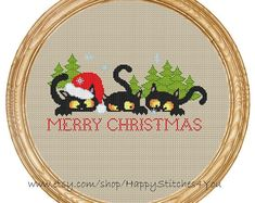 Cross Stitch Charts Cross Stitch Pattern PDF christmas cats with por - Included in the pdf file: - Black Cute Cross Stitch, Cross Stitch Animals, Cross Stitch Charts, Cross Stitch Designs, Cross Stitch Patterns, Diy Embroidery, Cross Stitch Embroidery, Embroidery Patterns, Cat Cross Stitches