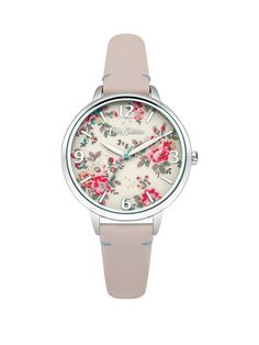 This Cath Kidston Kingswood Rose Nude Leather Strap Watch features Polished Silver Tone Case with Cream Photo Printed Dial.Make a fashion statement with this original watch.Pink Genuine Leather Strap3 ATM3 HandsCream Photo Printed DialQuartz movement